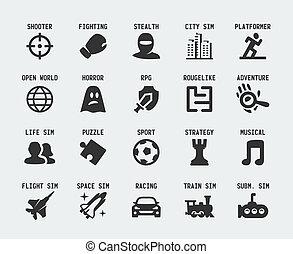 genres, ensemble, icônes, jeu, vecteur, vidéo
