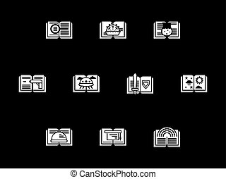 Genres of literary white glyph vector icons