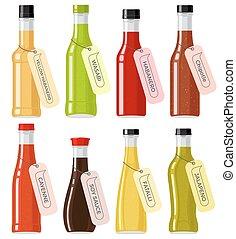 genres, verre, oriental, bouteilles, sauce, transparent