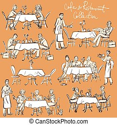 gens, à, café, et, restaurant, -, main, dessiné, collection.