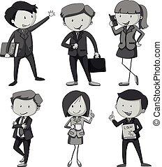 gens, à, différent, métiers