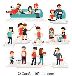 gens, à, gadgets, vecteur, plat, style, isolé, blanc, arrière-plan., hommes femmes, usage, téléphones, smartphones, tablettes, laptops.
