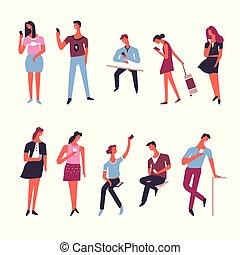 gens, à, intelligent, téléphone, gadgets, vecteur, icônes