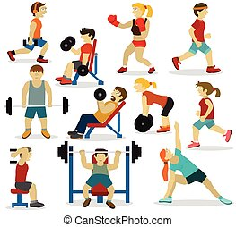 gens, à, les, gym(various, sports, activities)