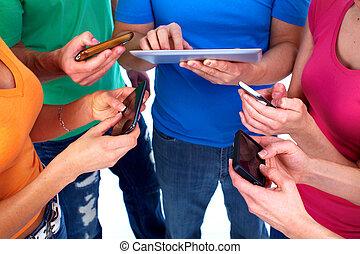 gens, à, smartphones