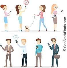 gens, à, smartphones, set.