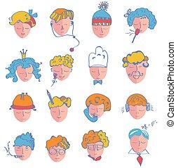 gens, âge, ensemble, différent, métiers, icônes