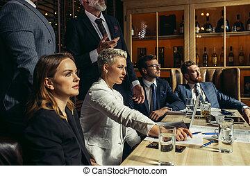 gens, écoute, orateur, business