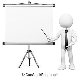 gens., écran, 3d, blanc, projection