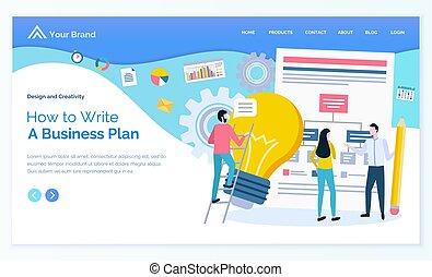 gens, écrire, ampoule, comment, plan, idée commerciale
