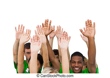gens, élévation, groupe, sourire, bras
