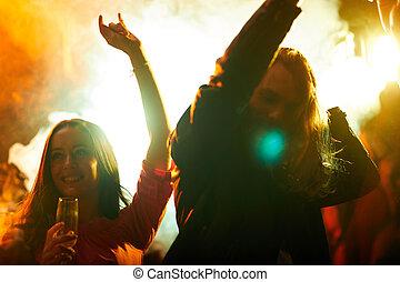 gens, énergique, fumée, danse