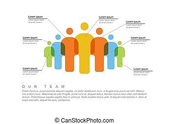 gens, équipe, infographic, gabarit