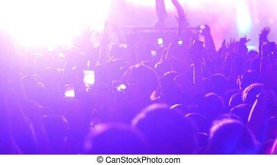 gens, étape, club, -, exécuter, concert, groupe