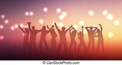 gens, 2305, conception, silhouettes, bannière, danse