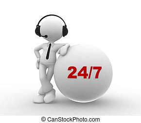 gens, 24/7, -, casque, homme personne, 3d
