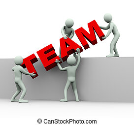 gens, -, 3d, équipe, concept
