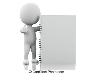 gens, 3d, bloc-notes, blanc