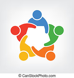 gens, 5, groupe, logo, équipe