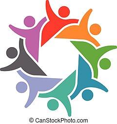 gens, 8, social, fête, logo, groupe
