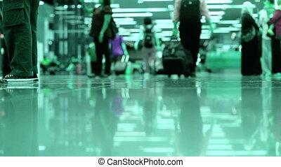 gens, aéroport, marche
