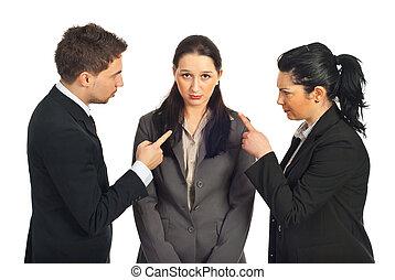 gens, accuser, collègue, elle, business, deux
