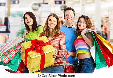 gens., achats, heureux