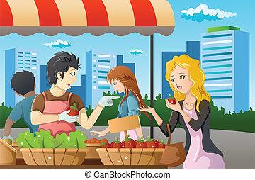 gens, achats, marché, agriculteurs