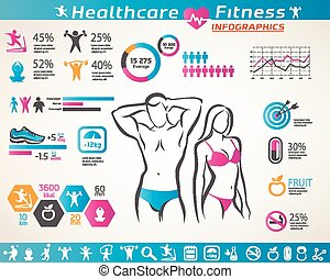 gens, actif, wellness, ensemble, infographcs, fitness, ...