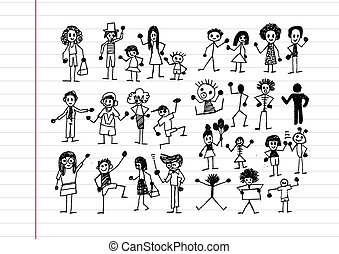 gens, activité, icônes, illustration