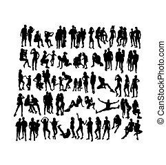 gens, activité, silhouettes