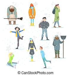 gens, activities., winter., hiver, vecteur, illustration.