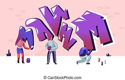 gens, ados, wall., rue, graffiti, activité, style de vie, jeune, créatif, passe-temps, urbain, plat, hommes, illustration, loisir, caractères, dessin animé, femmes, artiste, peintures, vecteur, aérosol, peinture, dessin