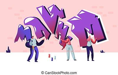 gens, ados, wall., rue, graffiti, activité, style de vie, jeune, créatif, peinture, passe-temps, urbain, adolescent, plat, hommes, illustration, caractères, dessin animé, femmes, artiste, vecteur, aerosole, peinture, dessin