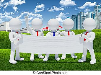 gens, affiche, cinq, tenue, vide, blanc, 3d