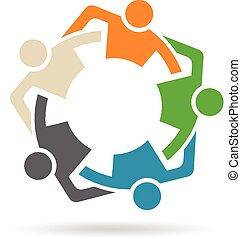 gens, amis, équipe, groupe, cinq