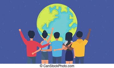 gens, animation, droits, diversité, humain
