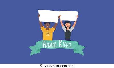 gens, animation, droits, diversité, ruban, humain