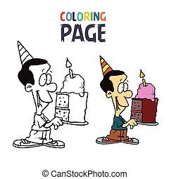 gens, anniversaire, coloration, gâteau, dessin animé, page