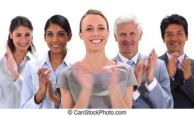 gens, applaudir, ensemble, business