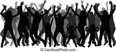 gens, applaudir, silhouette., foule, danse