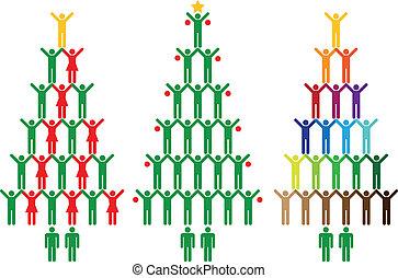 gens, arbre, noël, icônes