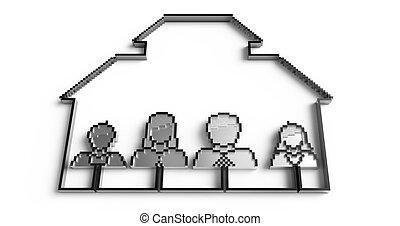 gens, argent, famille, icônes