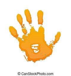 gens, arrière-plan., illustration, gens., fingers., symbole, main, grunge, isolé, conception, art, impression, blanc, 3d, texture., peinture, silhouette, vecteur, enfant, paume, gosse, handprint., orange, humain, identité, résumé