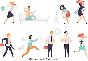 gens arrière-plan, travail, courant, travail, businesspeople, caractères, vecteur, blanc, illustration, tard