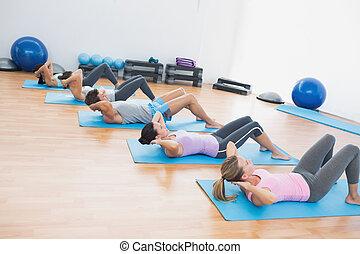 gens, asseoir, déterminé, augmente, fitness, studio
