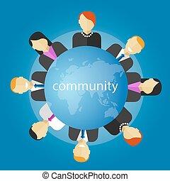 gens, autour de, fonctionnement, gestion, business, globe, communauté