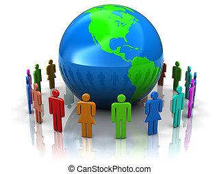 gens, autour de, la terre
