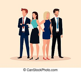 gens, avatar, caractère, business, groupe