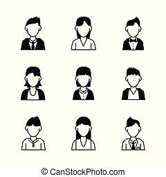 gens, avatar, icônes
